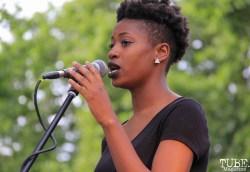 Cristen Spencer Backup Singer of Current Personae, Cesar Chavez Park, Sacramento, CA. May 6th, 2016. Photo Anouk Nexus