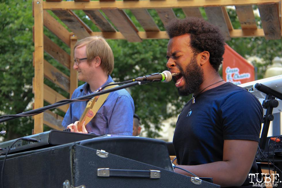 Joshua Washington Lead Vocals and Keyboardist of Current Personae, Cesar Chavez Park, Sacramento, CA. May 6th, 2016. Photo Anouk Nexus