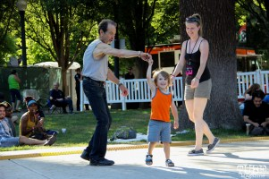 Lydia Jenkins, Jonny Garcia dancing with Kenny the Dancing Man, Concerts in the Park, Cesar Chavez Park, Sacramento, CA. May 27, 2016, Photo Anouk Nexus