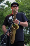 The Funksters Saxophone player with Tessa Evans, Cesar Chavez Park, Sacramento, CA. May 6th, 2016. Photo Anouk Nexus