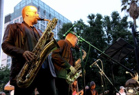 Saxophonists of James Cavern, Cesar Chavez Park, Sacramento, CA. May 6th, 2016. Photo Anouk Nexus