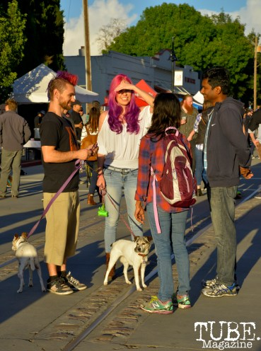 Reno Gorman and friends along with their dogs at the R Street Block Party in Sacramento, California on Saturday 21, 2016.