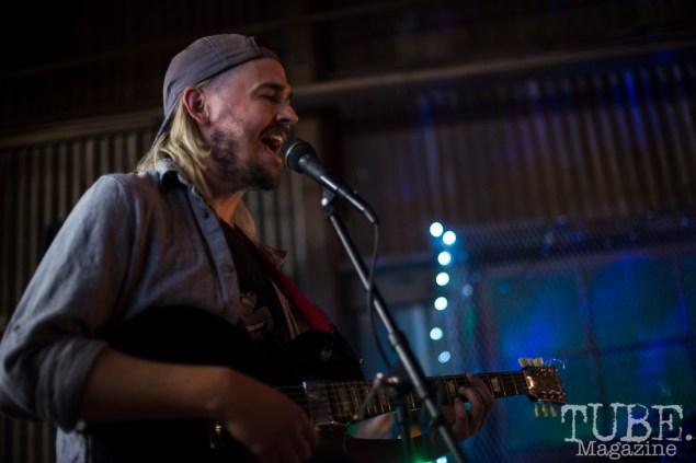 Geoffrey CK of the Sunmonks playing at The Panama Art Factory, Sacramento, CA.April 2016.