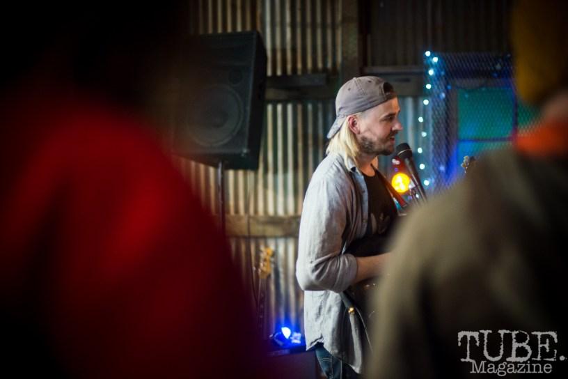 Geoffrey CK of the Sunmonks playing at The Panama Art Factory, Sacramento, CA.April 2016. Photo Melissa Uroff