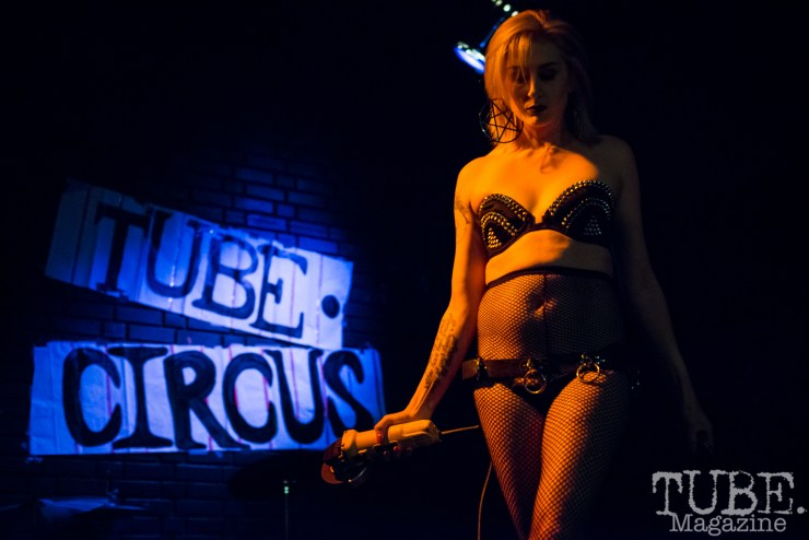 Courtney Crimson of The Displayed Labors Sideshow. TUBE. Circus, Blue Lamp, Sacramento, May 2016. Photo Melissa Uroff