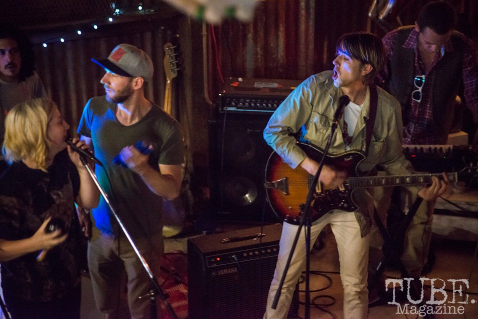 Dave Middleton of Sunmonks and Sam Eliot of Duke Chevalier playing at The Panama Art Factory. April 30, 2016. Photo Melissa Uroff