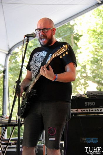 Cory Wiegert backup vocals/guitarist of PEACE KILLERS, Concerts in the Park, Cesar Chavez Park, Sacramento, CA. June 3, 2016, Photo Anouk Nexus