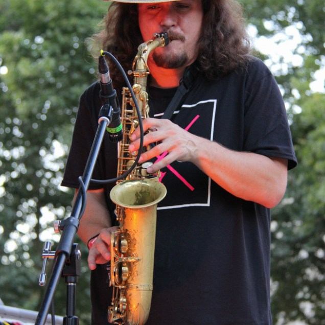 Saxophonist for Arden Park Roots, Concerts in the Park, Cesar Chavez Park, Sacramento, CA. June 24, 2016. Photo: Anouk Nexus