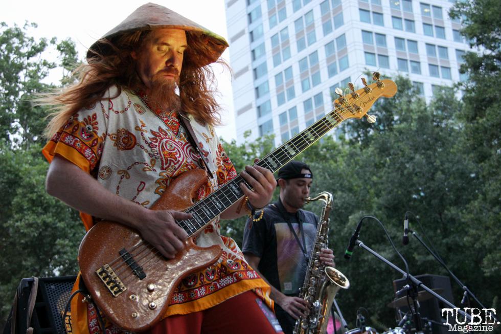 "Vokab Kompany bassist, ""Viking"", Concerts in the Park, Cesar Chavez Park, Sacramento, CA. June 17, 2016. Photo Anouk Nexus"