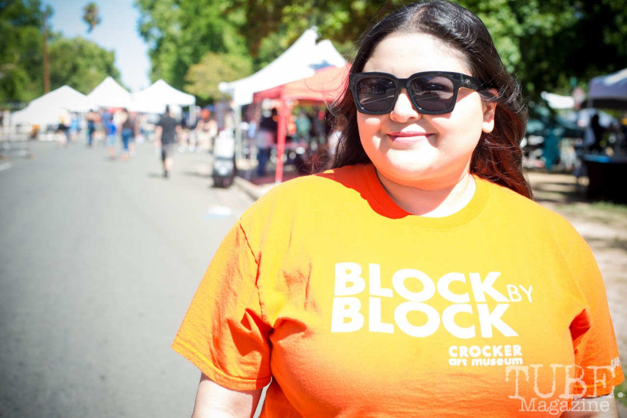 Priscilla Garcia working at the Crocker Block by Block Party in District 5, July 9, Sacramento CA. Photo Melissa Uroff