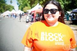 Priscilla Garcia working at the Crocker Block by Block Party in District 5, July 9, Sacramento CA. Photo Melissa Uroff