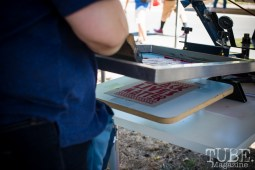 Screen printing demonstrations at the Crocker Block by Block Party in District 5, July 9, Sacramento CA. Photo Melissa Uroff
