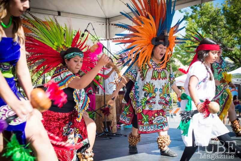 Maquilli Tonatiuh Aztec Dancers at the Crocker Block by Block Party in District 5, July 9, Sacramento CA. Photo Melissa Uroff