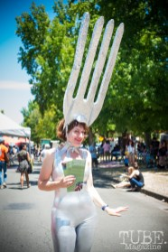 """Gigia Fonda promoting her """"GIVE A FORK"""" project at the Crocker Block by Block Party in District 5, July 9, Sacramento CA. Photo Melissa Uroff"""
