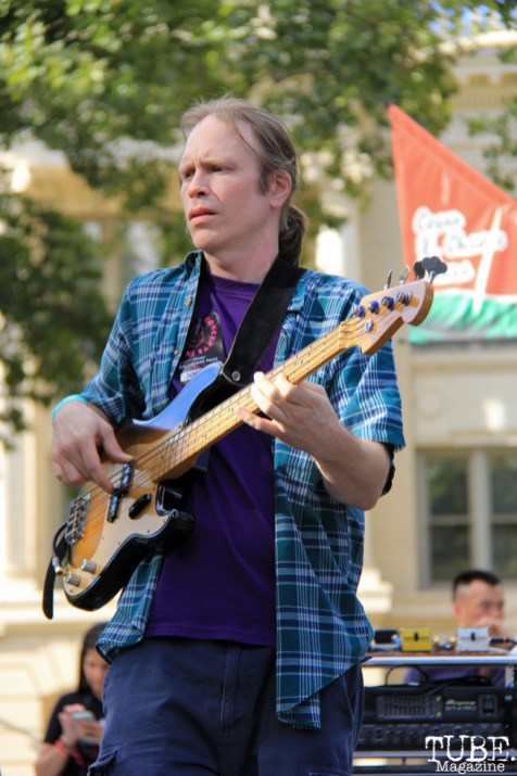 Bassist Mason DeMusey for Soft Science, Concerts in the Park, Cesar Chavez Park, Sacramento, CA. July 15, 2016. Photo Anouk Nexus