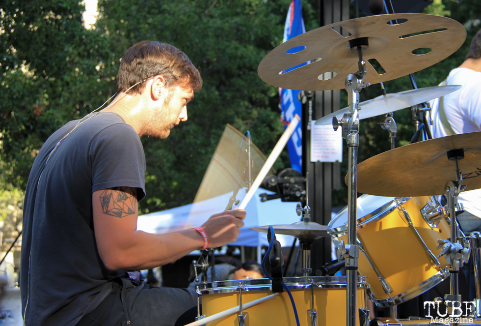 Drummer Paul Bates of PointDexter, Concerts in the Park, Cesar Chavez Park, Sacramento, CA. July 15, 2016. Photo Anouk Nexus