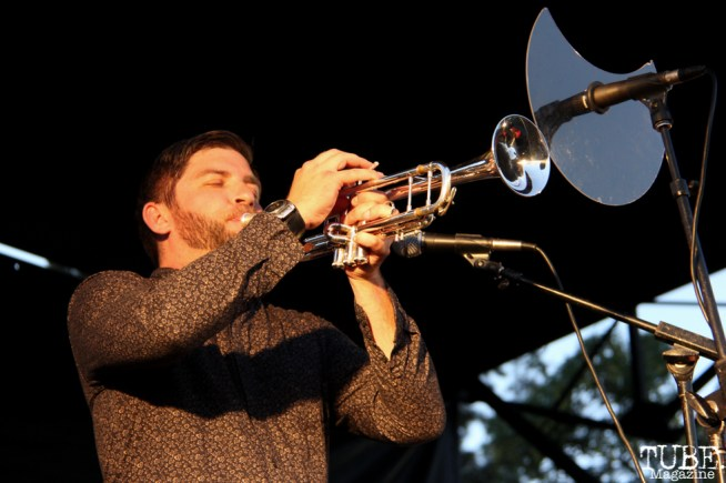 Trumpet Ryan Scott of Monophonics, Davis Community Park, Davis, CA. July 4, 2016. Photo Anouk Nexus