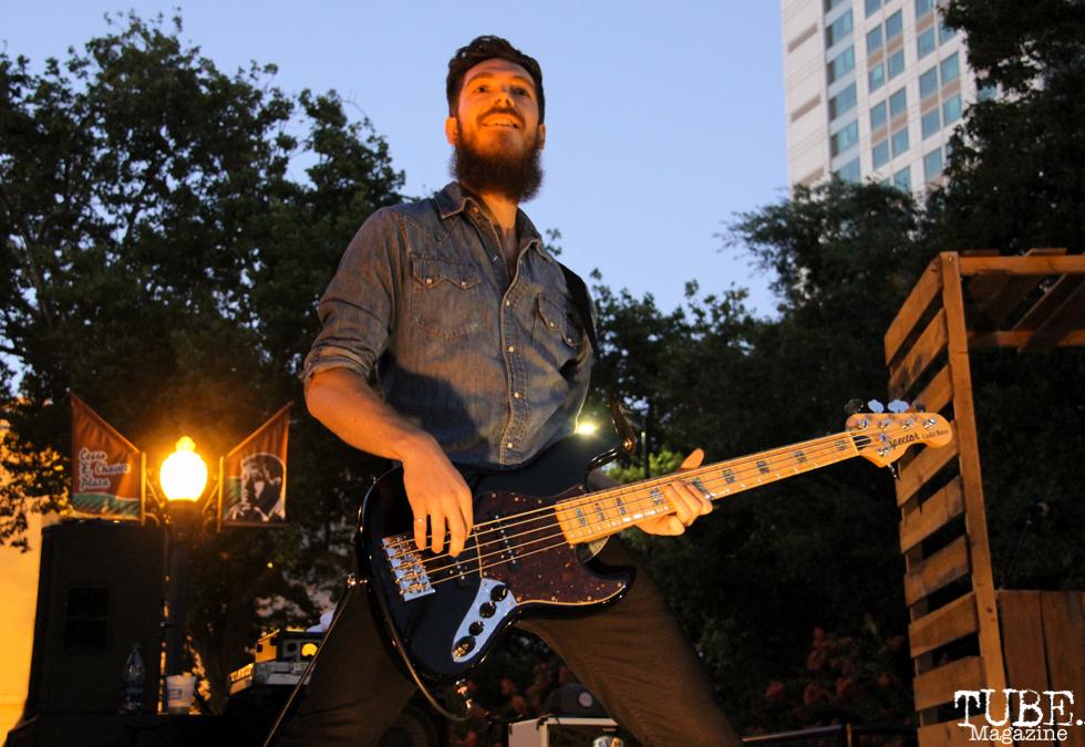 Bassist for Tyler Rich, Concerts in the Park, Cesar Chavez Park, Sacramento, CA. July 8, 2016. Photo Anouk Nexus