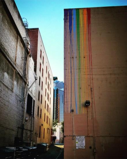Paint drips, Unknown artist, behind the Crest Theater, 1013 K Street, Sacramento, CA
