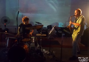 Drummer Jon Bafus and Saxophonist Randy McKean of Pac and Seep, Sac Stay Home Fest, Red Museum, Sacramento, CA. August 13, 2016. Photo Anouk Nexus