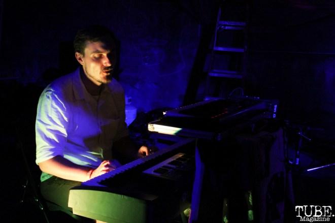Keyboardist Matt Stocks of The Happy Medium, Sac Stay Home Fest, Red Museum Sacramento, CA. August 13, 2016. Photo Anouk Nexus