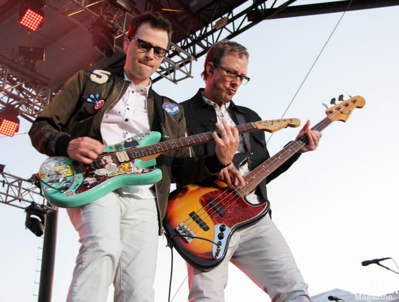 Vocalist/Guitarist Rivers Cuomo and Bassist Scott Shriner of Weezer, City of Trees, Bonney Field, Sacramento, CA. September 10, 2016. Photo Anouk Nexus