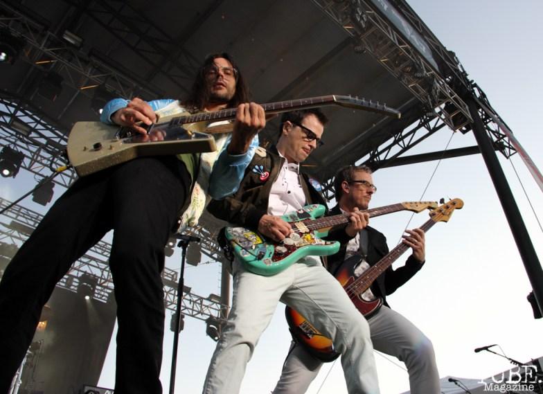 Guitarist Brian Bell, Vocalist/Guitarist Rivers Cuomo and Bassist Scott Shriner of Weezer, City of Trees, Bonney Field, Sacramento, CA. September 10, 2016. Photo Anouk Nexus