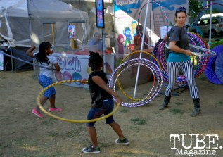 Kids hula hooping at at Chalk It Up in Sacramento, CA, September 4, 2016. Photo Emma Montalbano.