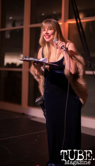 TUBE. founder Melissa Uroff on stage at the Vintage Swank ArtMix, Crocker Art Museum, March 2017. Photo Emma Montalbano