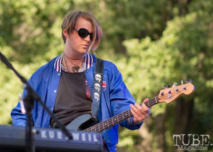 Brett Loper, Bassist and Rachel Lomax, Singer and Keyboardist, for Salt Wizard. Concert int he park Sacramento CA. 2017 Photo Dan Tyree