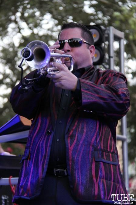 Trumpet player Tony Marvelli of Joy and Madness Concerts in the Park, Cesar Chavez Park, Sacramento, CA. July 21, 2017. Photo Anouk Nexus