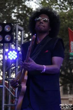 Guitarist Bobby G Gonzales of Joy and Madness, Concerts in the Park, Cesar Chavez Park, Sacramento, CA. July 21, 2017. Photo Anouk Nexus