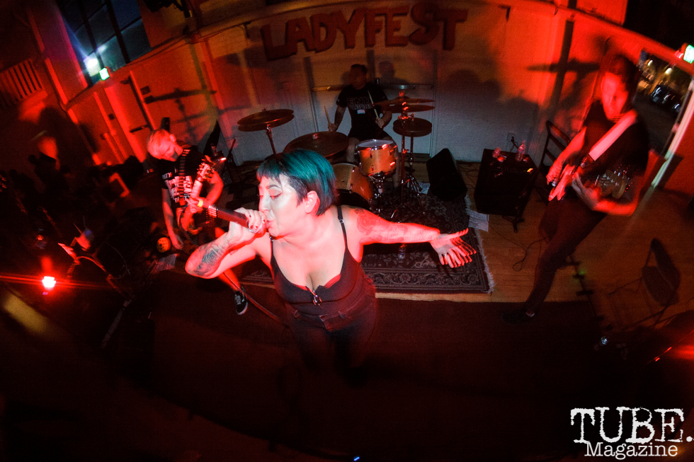 Dying For It performing in Sacramento CA for Ladyfest. July 22, 2017. Photo Cam Evans