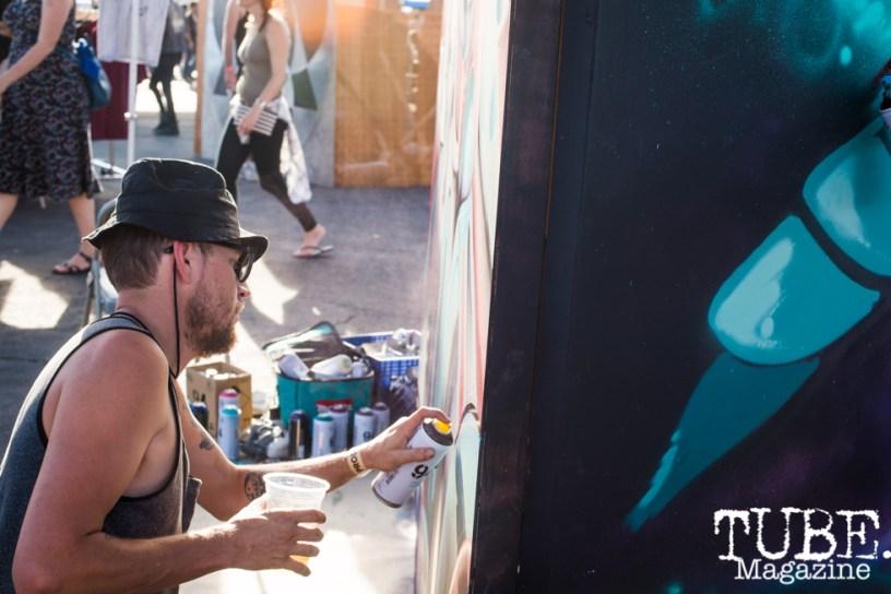 Artist Shaun Burner, City of Trees, Papa Murphys Park, Sacramento CA, September 24, 2017 Photo Melissa Uroff