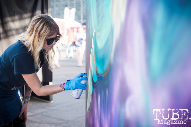 Artist Jenn Ponci, City of Trees, Papa Murphys Park, Sacramento CA, September 24, 2017 Photo Melissa Uroff