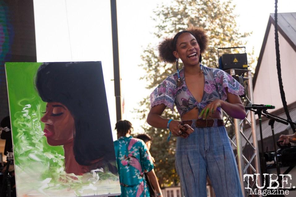 Aliyah Sidqe during the Art Battle against Lisa Elias at HOFDAY in Sacramento, CA (9/16/2017). Photo Cam Evans.