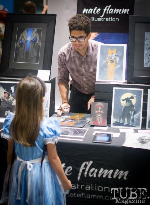 Nate Flamm and Fan, Art Mix Crocker-Con, Crocker Art Museum, Sacramento, CA, September 14, 2017, Photo by Dan Tyree