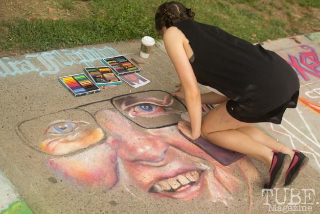 Portrait in Chalk, Chalk It Up, Fremont Park, Sacramento, CA, September 4, 2017 Photo Dan Tyree