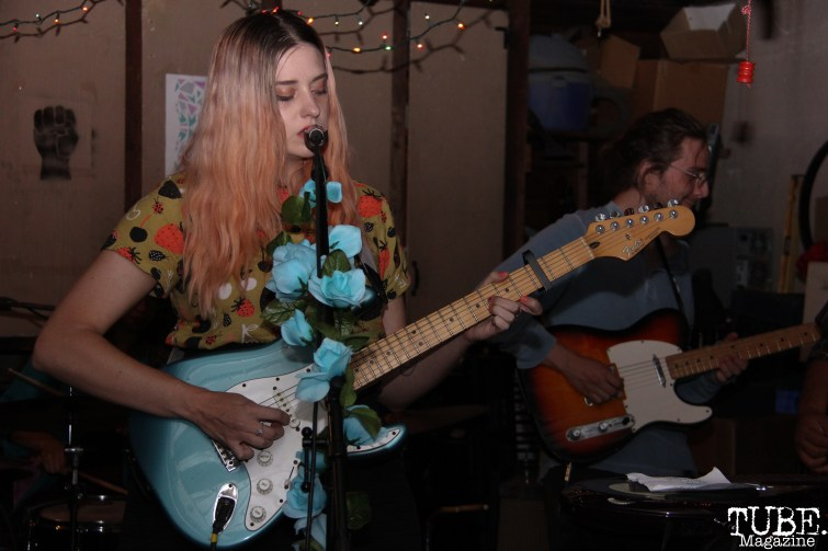 Vocalist/Guitarist Jena Pyle of Sundae Crush Performing at Someone's House, Sacramento, CA. October 10, 2017. Photo Anouk Nexus