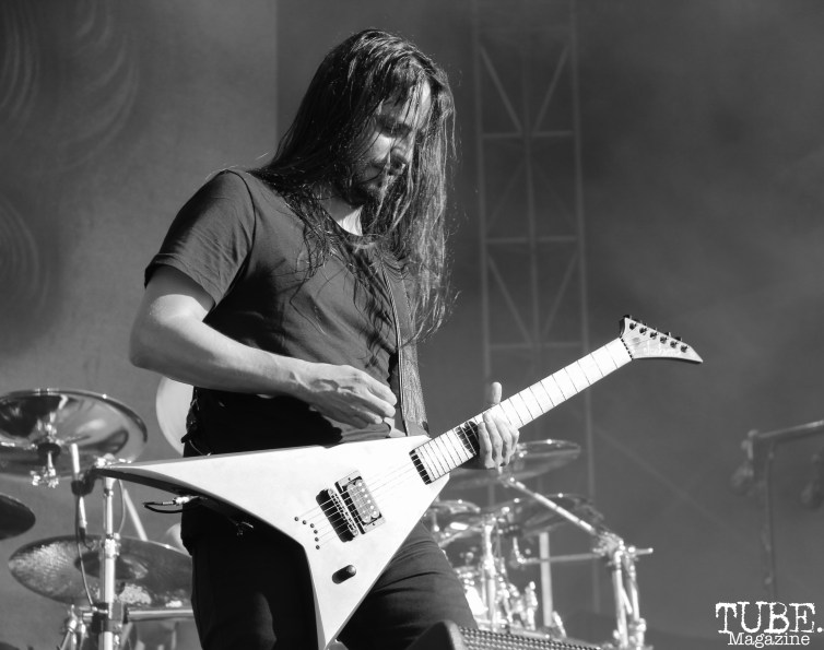 Guitarist Christian Andreu of Gojira, Aftershock, Discovery Park, Sacramento, CA. October 21, 2017. Photo Anouk Nexus