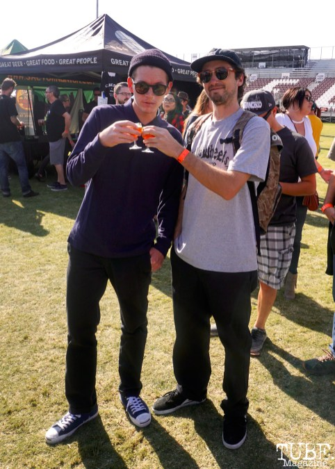 Blue Tuner and Andrew Nelson enjoying craft beers at Punk in Drublic Craft Beer and Music Festival at Papa Muphy's Park, Sacramento CA, October 15th 2017. Photo Joey Miller