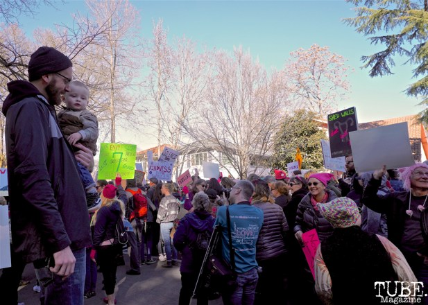 Travis Avampato and Baby Ari supporting the ladies in Southside Park during the Women's March, Sacramento CA. January 2018. Photo Joey Miller