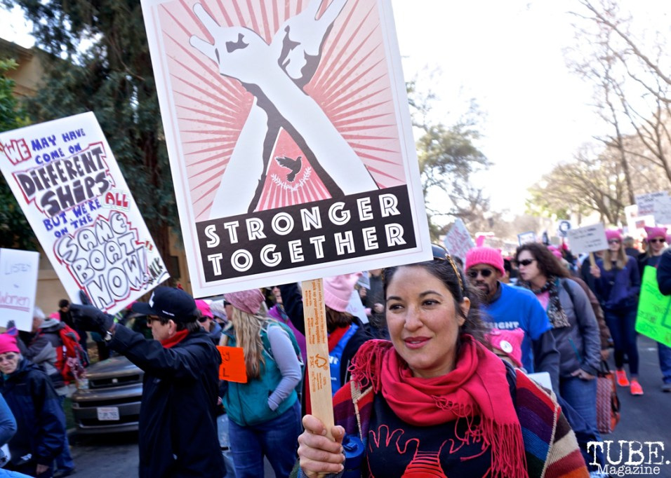 Nitza Bezzeridies-Pinder along the Women's March, Sacramento CA. January 2018. Photo Joey Miller