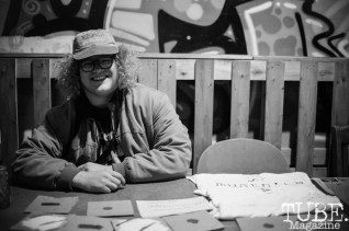 Joey Miller selling merch at The Colony in Sacramento Ca. January 20, 2018. Photo Heather Uroff