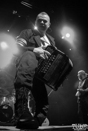 Accordion player Pasha Newmer of Gogol Bordello, The Fillmore, San Francisco, CA. February 27th, 2018. Photo Anouk Nexus