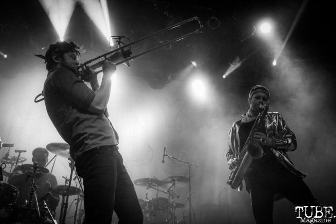 Trombonist Josh Holcomb and Saxophonist Daro Behrooz of Lucky Chops, The Fillmore, San Francisco, CA. February 27th, 2018. Photo Anouk Nexus