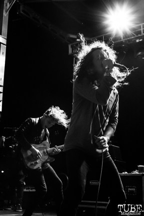 Cory Lockwood vocalist and Michael Franzino guitarist of A Lot Like Birds, First Festival, Tanzanite Park, Sacramento, CA, May 6th, 2018, Photo by Mickey Morrow