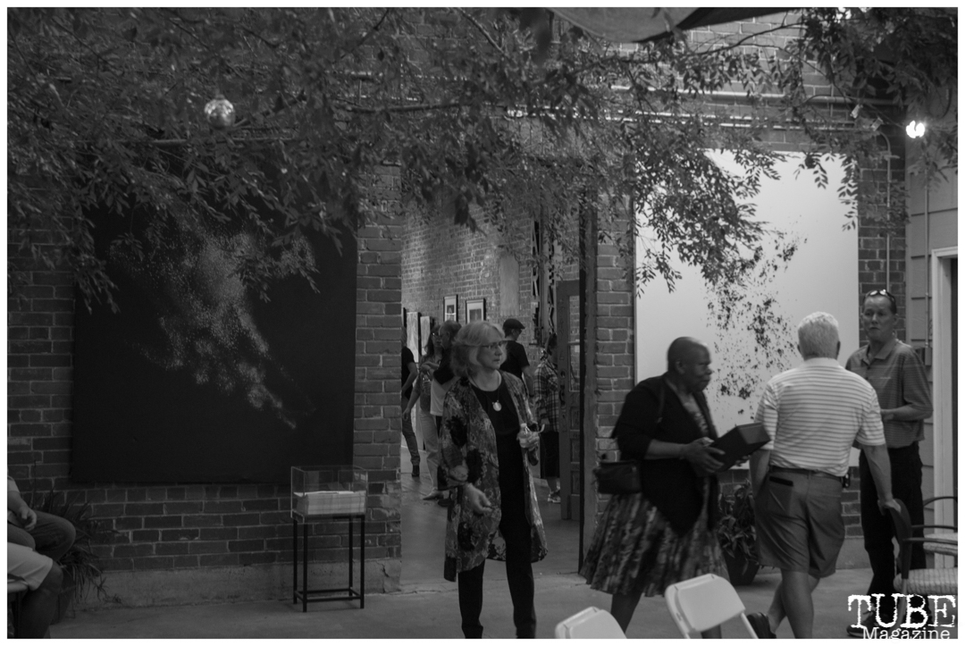 Crowd mingling on the patio of The Brickhouse Gallery & Art Complex in Sacramento CA. May 4th, 2018. Photo Benz Doctolero