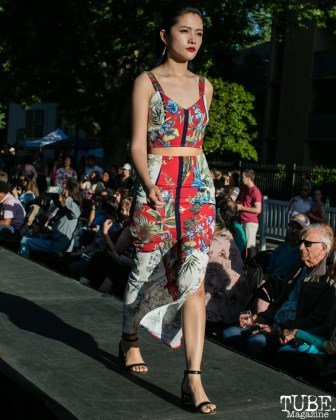 Cathy Chang wearing clothes from LadyBuggz Boutique, Dress Up-Wine Down, Capitol Avenue, Sacramento, CA. May 12th, 2018. Photo Mickey Morrow