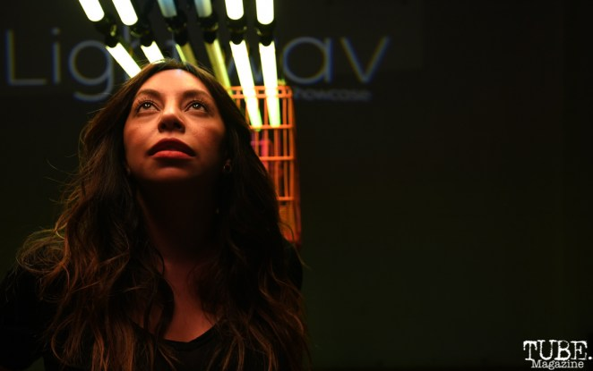 Cristina Tyree in Alex Trujillo's Installation, Light.Wav Sacramento Tech-Art Showcase, Sacramento, CA, June 16, 2018, Photo by Daniel Tyree
